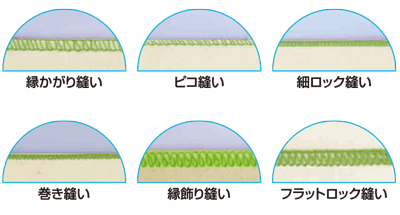 多彩な縫いパターン