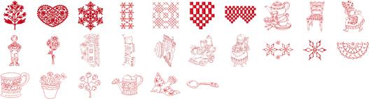 ミシン内蔵刺しゅうデザイン がなはコレクション(レッドワーク)
