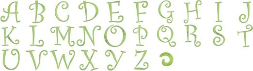 ミシン内蔵刺しゅうデザイン カーリーアルファベットデザイン